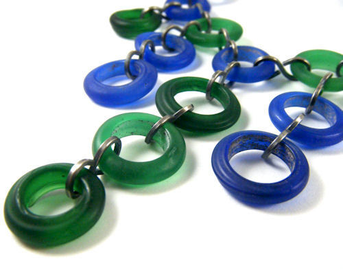 Cobalt Blue and Forest Green Glass Dogon Bead Necklace - Sterling Silver - product images  of
