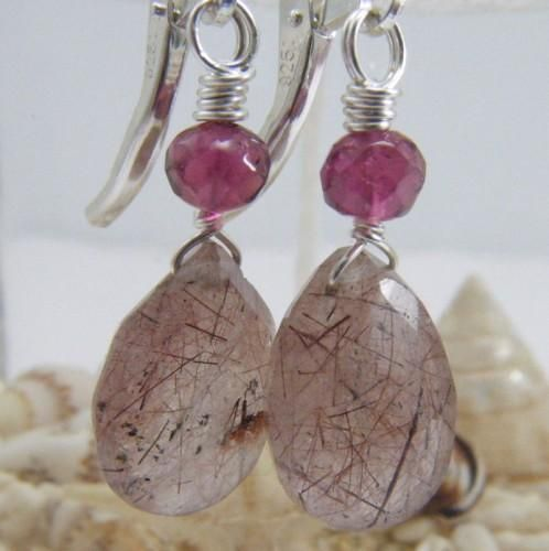 Red Copper Rutilated Quartz Tourmaline Earrings Sterling Silver Dangle - product images  of