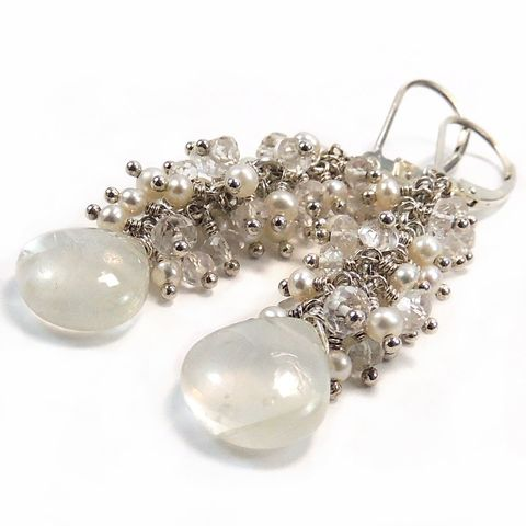 Moonstone,,Pearl,,White,Topaz,,Sterling,Silver,Wire,Wrapping,Earrings,Jewelry,Pearl,pearls,topaz,moonstone,white,creamy,bride,bridal,wedding,cascade,wire_wrapped,sterling_silver,nightskyjewelry,night_sky_jewelry