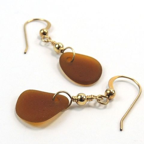 Amber,Sea,Glass,14KT,Gold,Filled,Earrings,Puerto,Rico,Beach,sea glass,gold filled wire,gold filled beads,earrings, sea glass, beach glass, gold filled, wire wrapped, amber, honey, artisan, handmade, Puerto Rican sea glass, nightskyjewelry, night sky jewelry, jaguild, Utah, UT, Salt Lake City, cybe