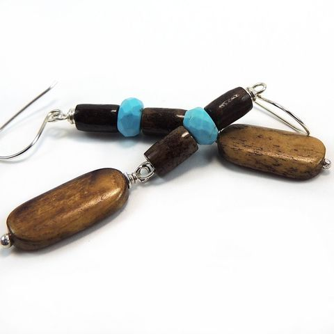 Turquoise,and,Bone,Handmade,Earrings,,Sterling,Silver,handmade, earrings, handcrafted, one of a kind, bone, turquoise, sterling silver, wirewrapped, dangle, nightskyjewelry, night sky jewelry, sharon burgess