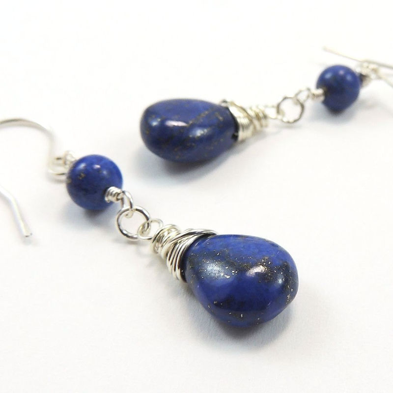 Genuine Lapis Lazuli Sterling Silver Wire Wrapped Dangle Earrings - product images  of
