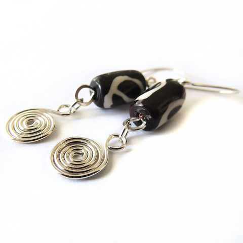 Ceramic,Mud,Cloth,and,Sterling,Silver,Spiral,Earrings,Jewelry, spirals, sterling silver, handmade, handcrafted, spiral, mud cloth, ceramic nightskyjewelry, night sky jewelry, sharon burgess