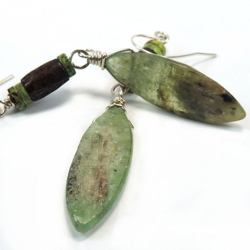 Natural Green Kyanite with Gaspeite and Bone Earrings, Sterling Silver - product images  of