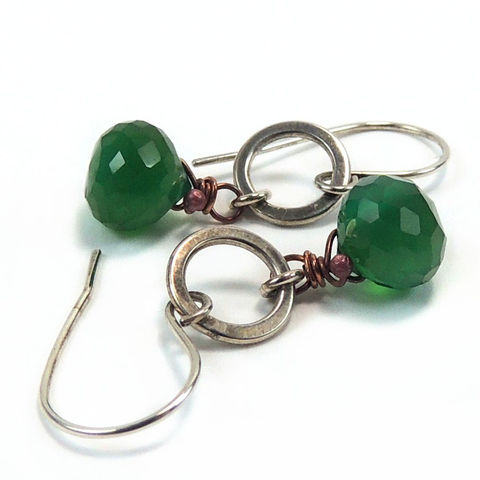 Emerald,Green,Chalcedony,,Sterling,Silver,and,Copper,Earrings,Jewelry,Chalcedony,kiss_briolette,copper,green,earthy,forest_green,short_and_sassy,nightskyjewerly,night_sky_jewelry,sharon_burgess,mixed_metal