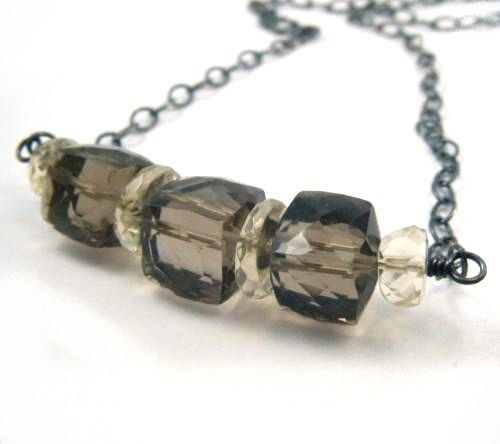 Oregon Sunstone and Smoky Quartz Sterling Silver Necklace - product images  of