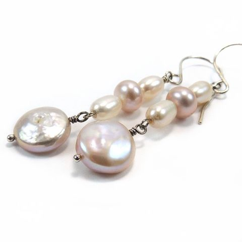 Freshwater,Pearl,Earrings,in,Shades,of,Pink,and,Cream,Jewelry,freshwater_pearl,pink,mauve,cream,sterling_silver,dangle_earrings,wire_wrapped,night_sky_jewelry,nightskyjewelry,sharon_burgess