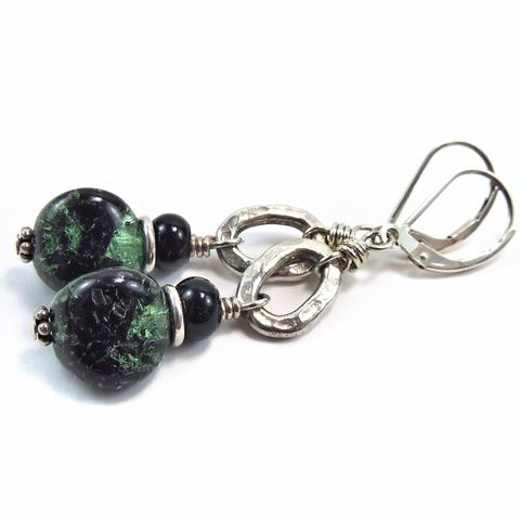 Handmade,Vintage,Givre,Glass,and,Sterling,Silver,Dangle,Earrings,vintage glass beads,onyx beads,sterling silver,thai silver, vintage glass, onyx, handmade, sterling silver, thai silver, green, black