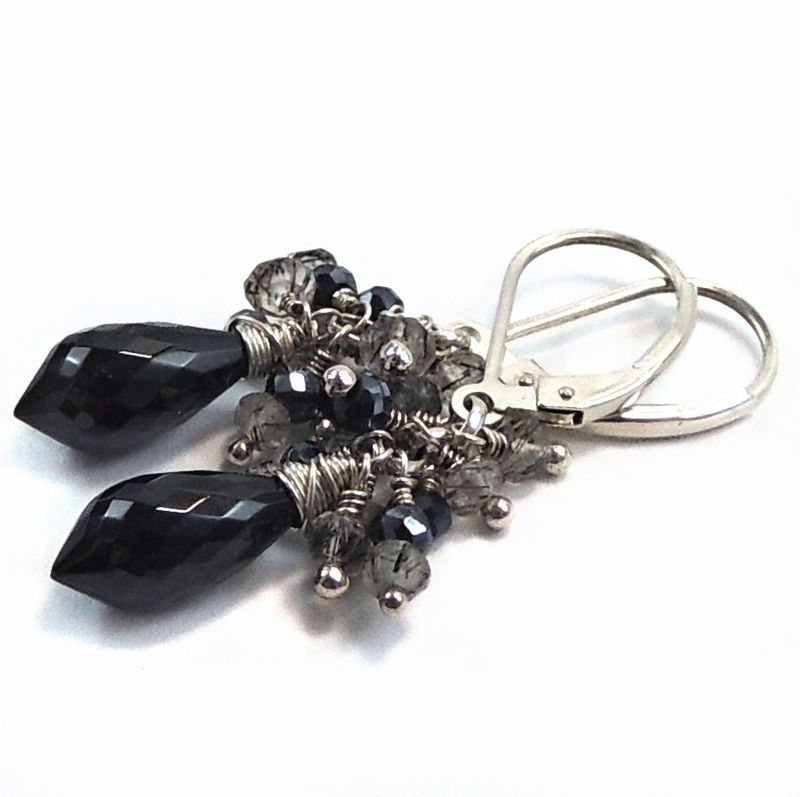 Black Spinel Tears with Rutilated Quartz and Black Sapphire Cluster Earrings - product images  of