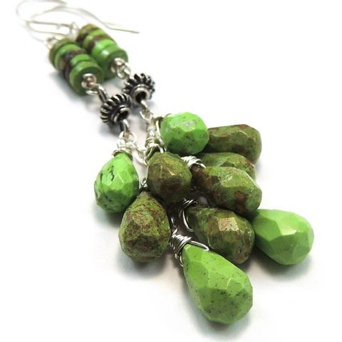 Australian,Gaspeite,Sterling,Silver,Handmade,Earrings,handmade, earrings, gaspeite, sterling silver, australian gaspeite, cascade, dangle, drop, teardrops, heishi, nightskyjewelry, night sky jewelry, sharon burgess