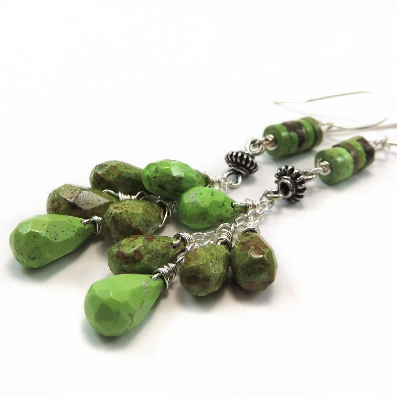 Australian Gaspeite Sterling Silver Handmade Earrings - product images  of