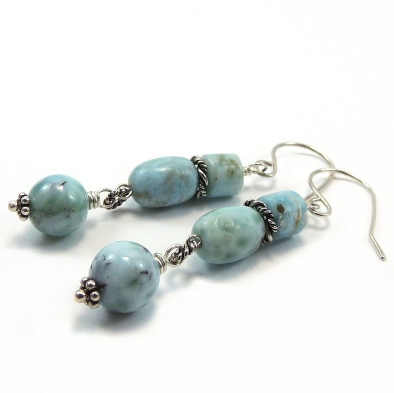 Larimar and Sterling Silver Handmade Earrings - product images  of
