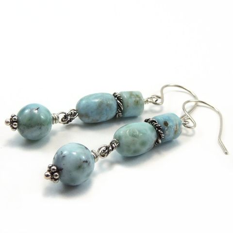 Larimar,and,Sterling,Silver,Handmade,Earrings,Jewelry, handmade, handcrafted, Larimar, sterling silver, sky blue, dangle, pierced wire wrapped, night sky jewelry, nightskyjewelry, sharon burgess
