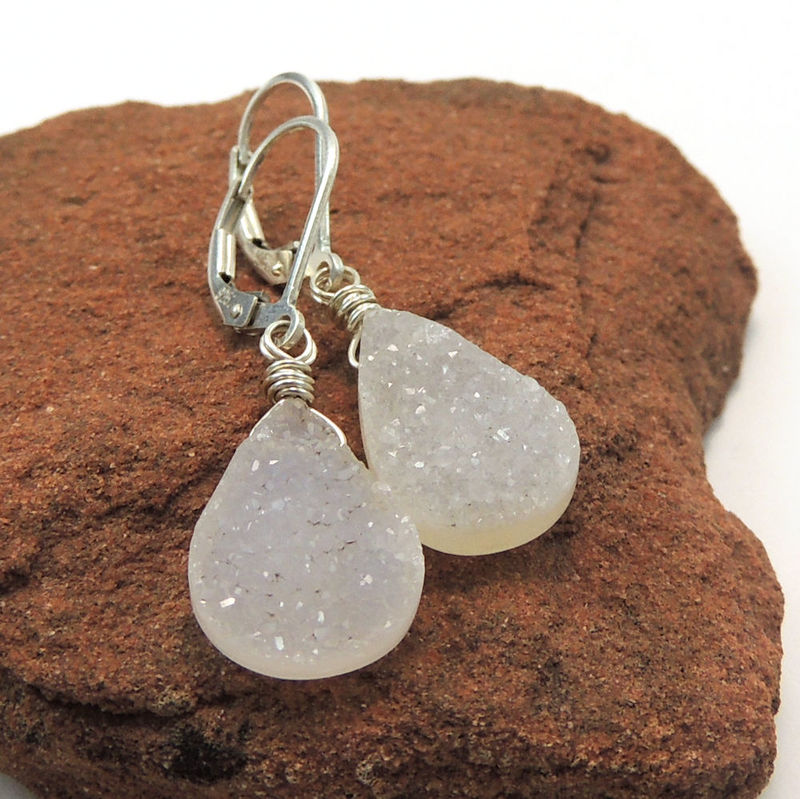 Natural White Druzy Drusy Sterling Silver Handmade Earrings - product images  of