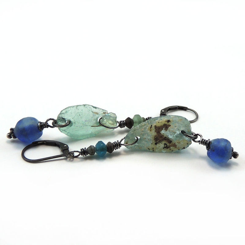 Ancient Roman Glass, Cobalt Blue African Glass Earrings - product images  of