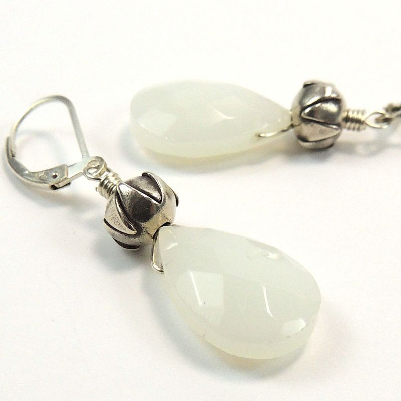 Faceted White Jade and Thai Silver Earrings - product images  of