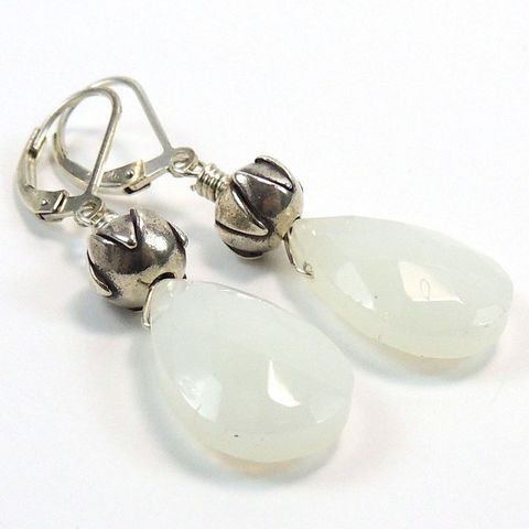 Faceted,White,Jade,and,Thai,Silver,Earrings,handmade, earrings, jewelry, sterling silver, jade, thai silver, lotus blossom, white, off-white, wire wrapped, night sky jewelry, nightskyjewelry, sharon burgess