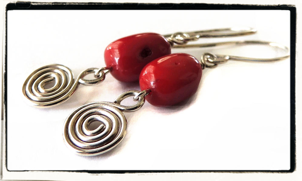 Pacific Coral and Sterling Silver Spiral Earrings