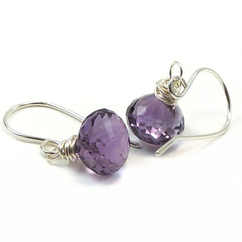 Faceted,Amethyst,Kiss,Earrings,,Sterling,Silver,,Handmade,jewelry, earrings, amythyst, purple, lavender, handmade, handcrafted, sterlin silver, wire wrapped, pierced, dangle, faceted, nightskyjewelry, night sky jewelry, sharon burgess