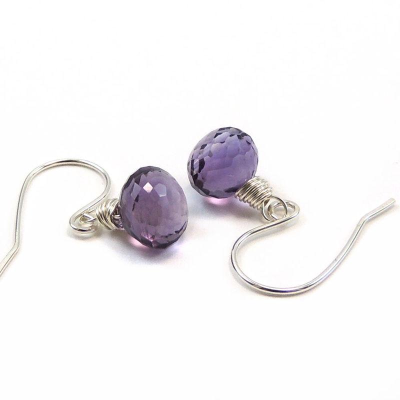 Faceted Amethyst Kiss Earrings