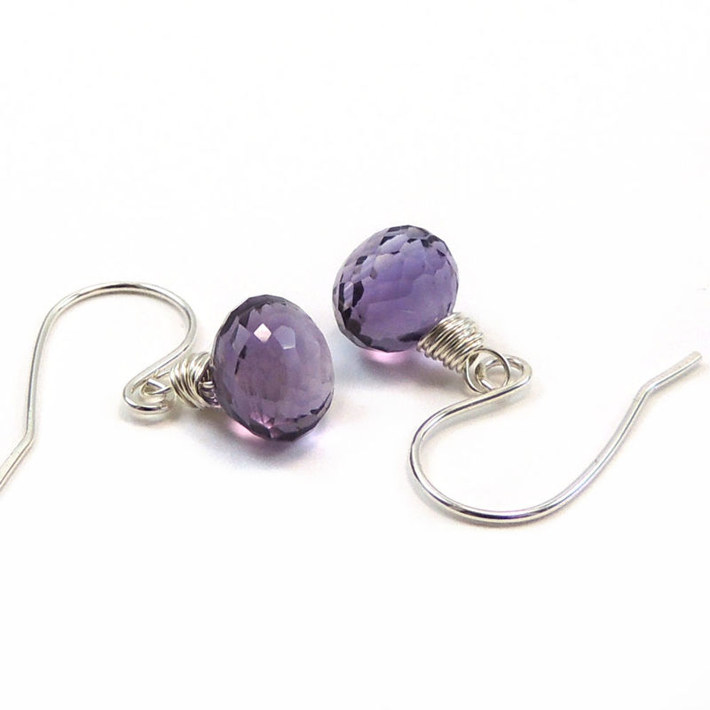 Faceted Amethyst Kiss Earrings, Sterling Silver, Handmade - product images  of
