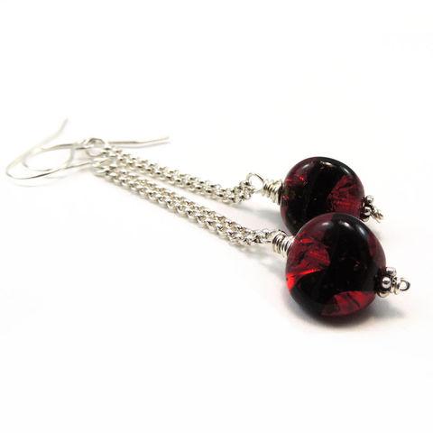 Vintage,Red,German,Glass,Givre,Beads,,Sterling,Silver,Chain,Earrings,jewelry, earrings, handmade, vintage beads, german beads, sterling silver, chain, red, black, red and black, givre, pierced, glass, nightskyjewelry, night skyjewelry, sharon burgess