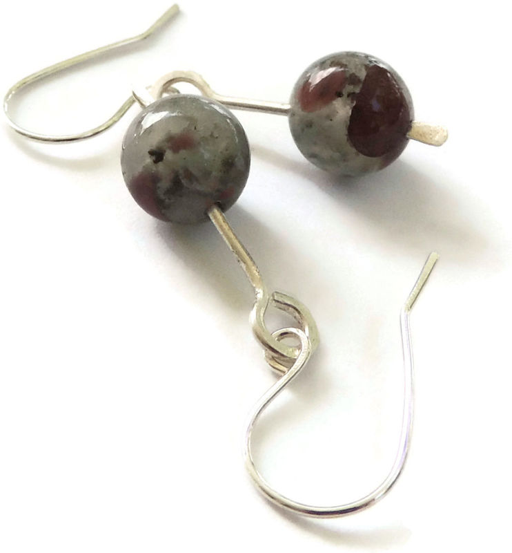 African Bloodstone and Hammered Sterling Silver Earrings - product images  of