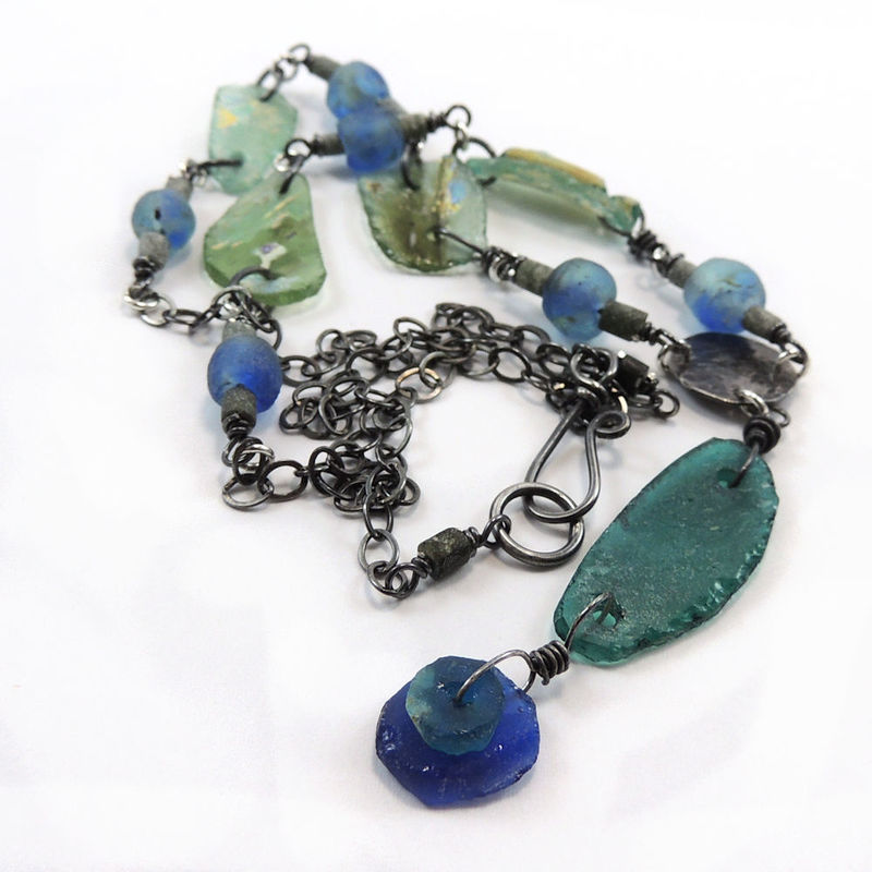 Ancient Roman Glass Recycled African Glass Necklace - product images  of
