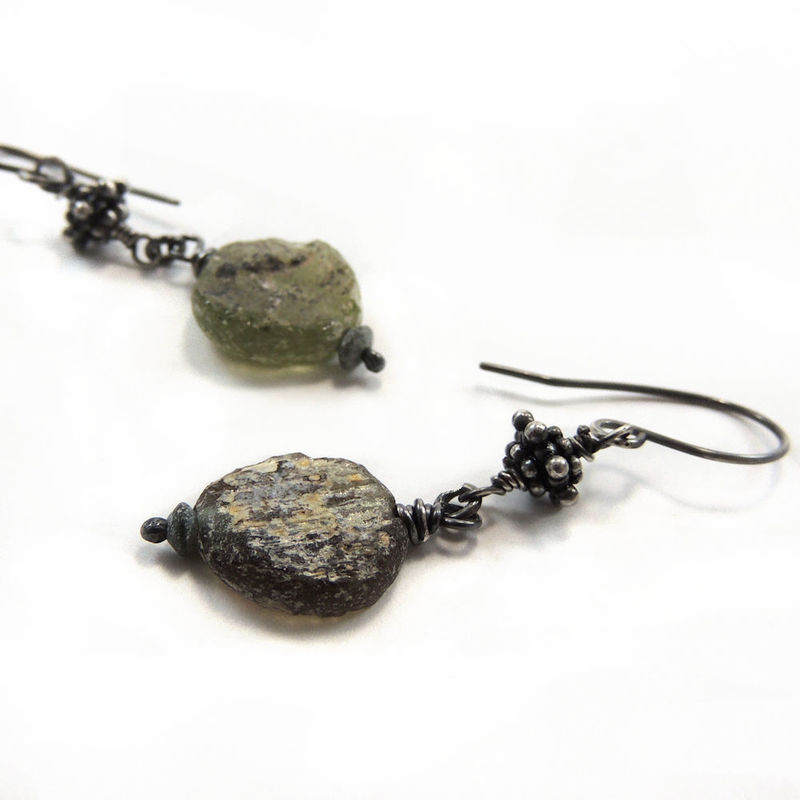 Bali Sterling Silver Ancient Roman Glass Dangle Earrings - product images  of