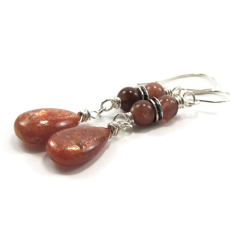 Fiery Sunstone and Sterling Silver Handmade Earrings - product images  of