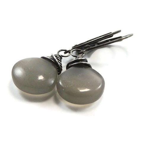 Billowy,Gray,Moonstone,and,Sterling,Silver,Earrings,jewelry, earrings, handmade, handcrafted, moonstone, sterling silver, nightskyjewelry, night sky jewelry, sharon burgess
