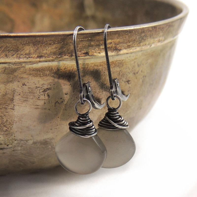 Billowy Gray Moonstone and Sterling Silver Earrings - product images  of