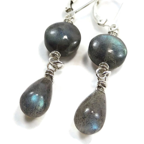 Blue,Teal,Flash,Labradorite,and,Sterling,Silver,Handmade,Earrings,jewelry, earrings, handmade, wire wrapped, sterling silver, labradorite, night sky jewelry, nightskyjewelry, sharon burgess