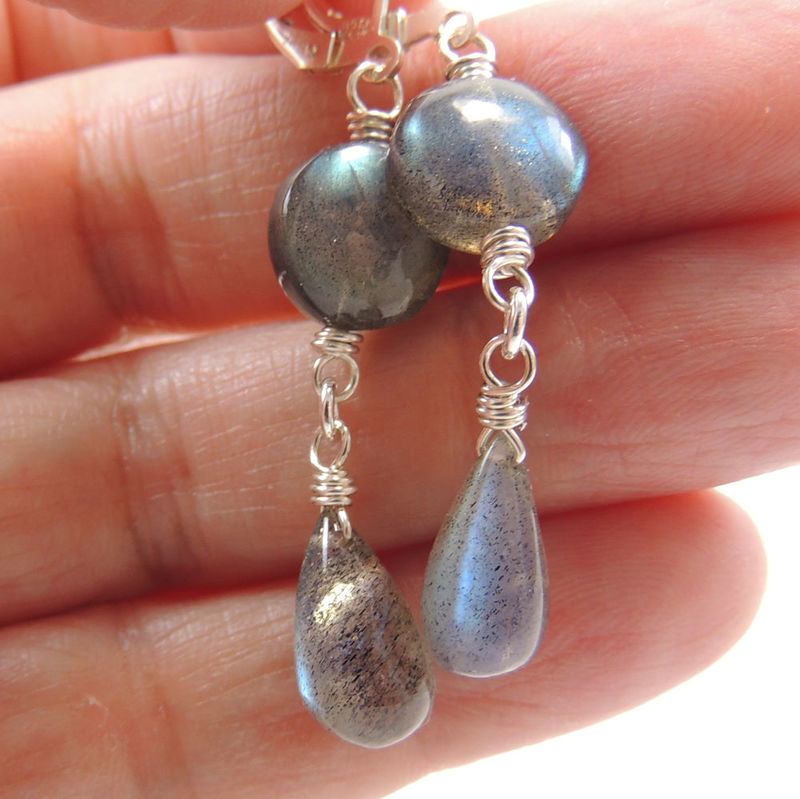 Blue Teal Flash Labradorite and Sterling Silver Handmade Earrings - product images  of