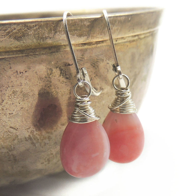 Pink Peruvian Opal and Sterling Silver Dangle Earrings - product images  of