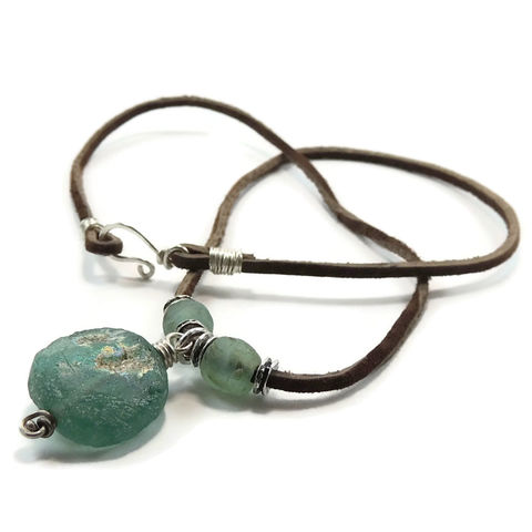 Ancient,Roman,Glass,and,Leather,Necklace,With,Sterling,Silver,African,Beads,ancient, ancient Roman glass, recycled, African glass, sterling silver, wire wrapping, handmade, handcrafted, necklace, pendant, leather, one of a kind, sharon burgess, night sky jewelry, nightskyjewelry