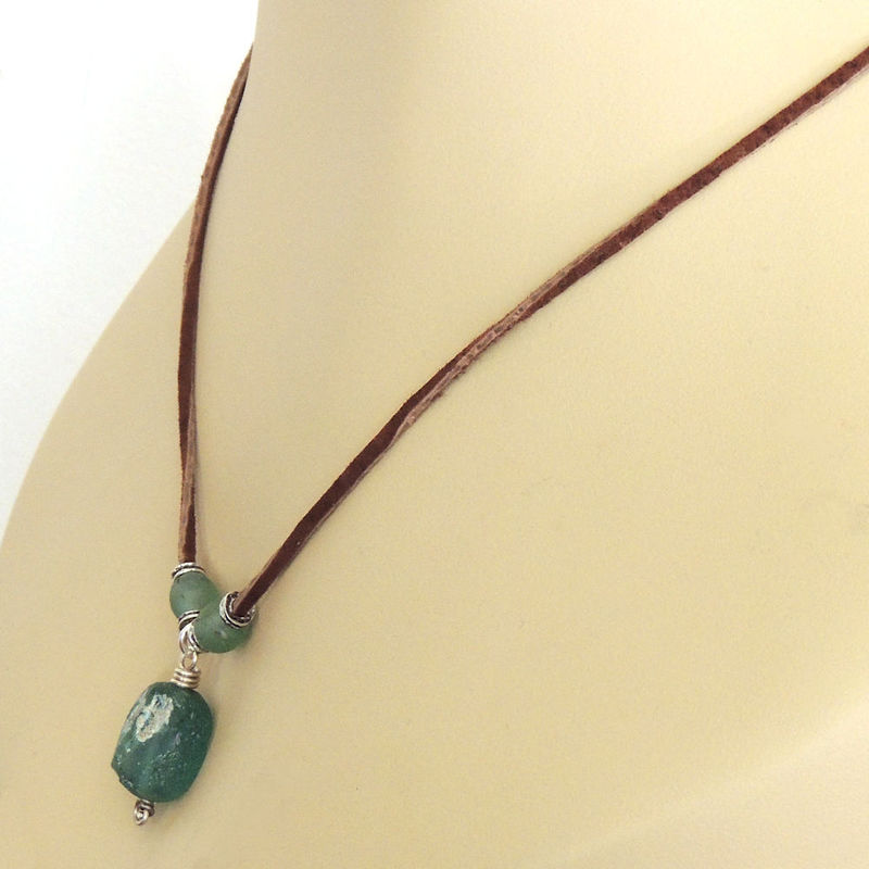 Ancient Roman Glass and Leather Necklace With Sterling Silver and African Glass Beads - product images  of