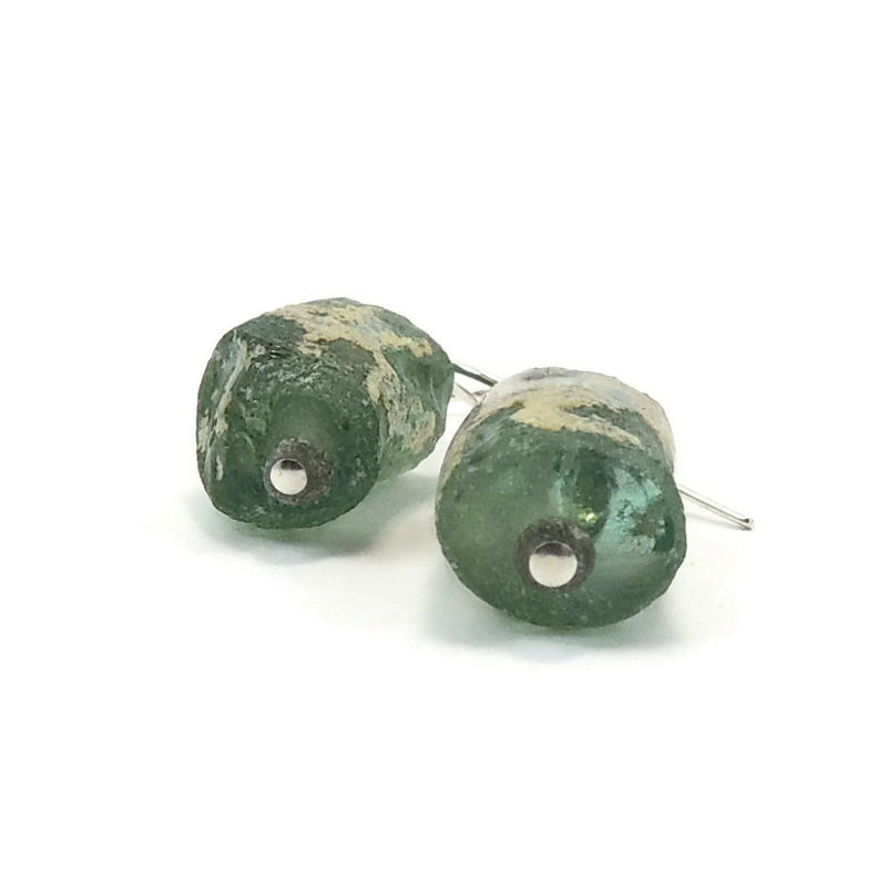 Handmade Ancient Roman Glass and Sterling Silver Earrings - product images  of