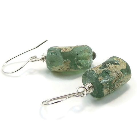 Handmade,Ancient,Roman,Glass,and,Sterling,Silver,Earrings,jewelry, earrings, handmade, ancient glass, ancient roman glass, sterling silver, wire wrapped, nightskyjewelry, night sky jewelry, sharon burgess