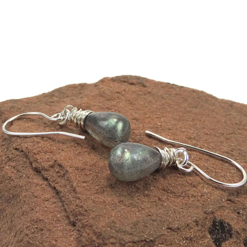 Flashy Labradorite and Sterling Silver Drop Earrings - product images  of