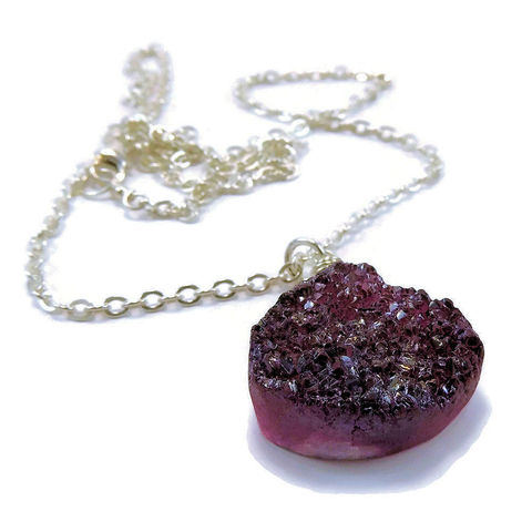 Merlot,Red,Druzy,Drusy,Sterling,Silver,Pendant,Necklace,jewelry, handmade, necklace, pendant, sterling silver, druzy, drusy, titanium drusy, goth, red druzy, merlot, wire wrapped, handcrafted, artisan, nightskyjewelry, night sky jewelry