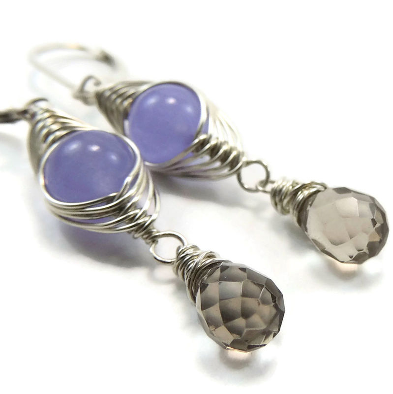 Lavender Jade and Smoky Quartz With Sterling Silver Herringbone Earrings - product images  of