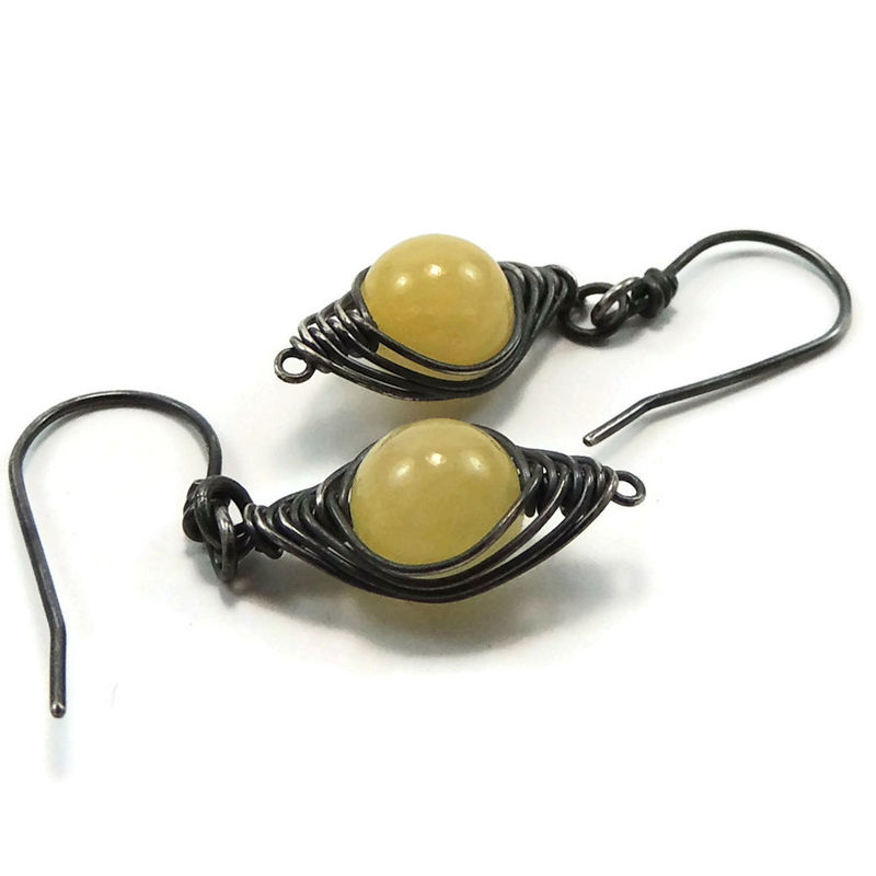 Natural Yellow Jade and Antiqued Sterling Silver Artisan Earrings - product images  of