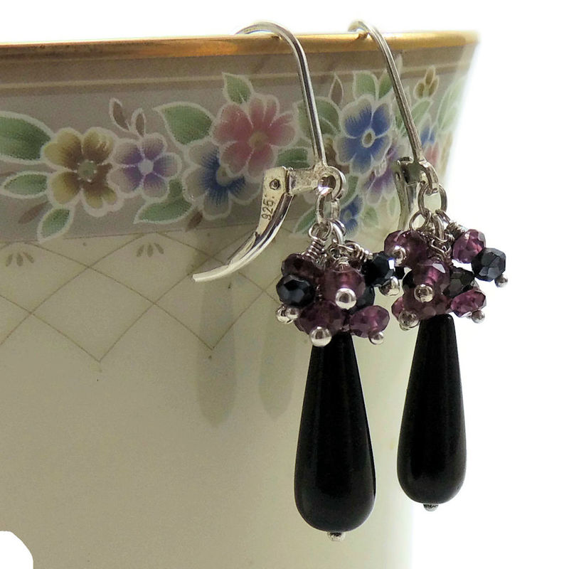 Garnet, Black Sapphire, and Blackstone Handmade Earrings - product images  of