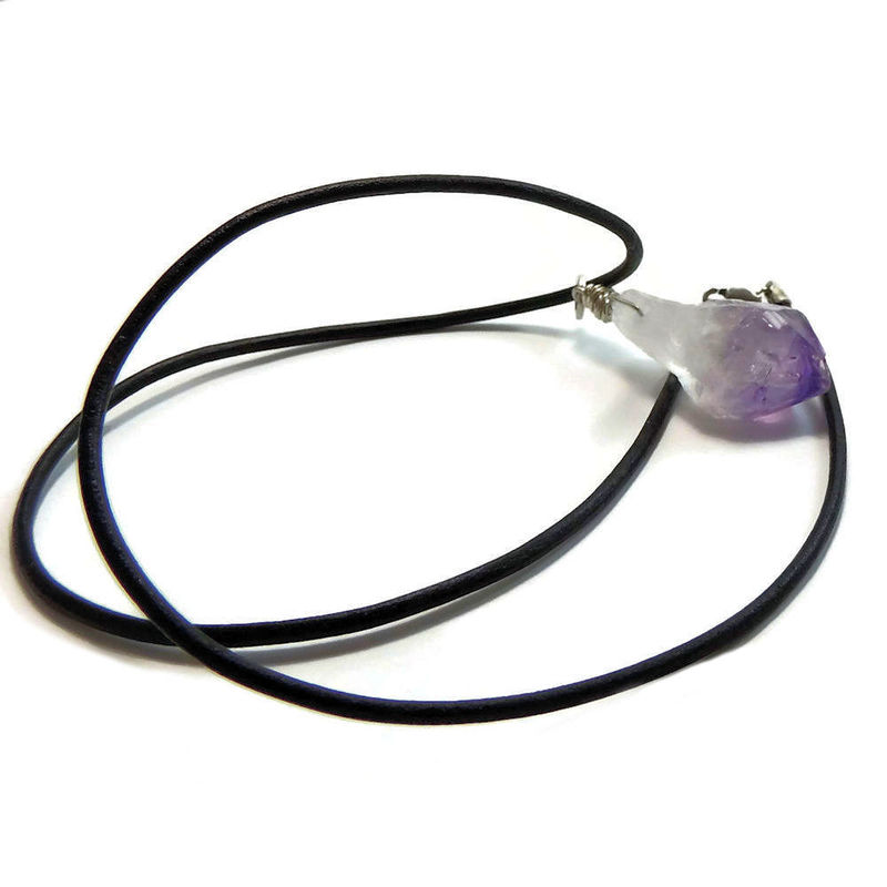Amethyst Crystal Point Sterling Silver Necklace - product images  of