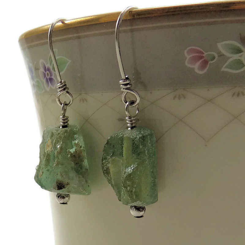 Ancient Roman Glass Earrings Artisan Designed and Handcrafted  - product images  of